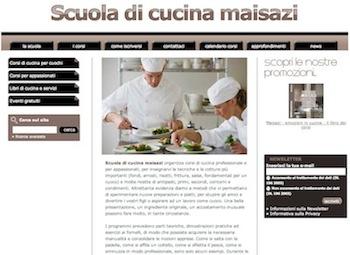La homepage del nuovo sito di commercio elettronico della Scuola di cucina maisazi.